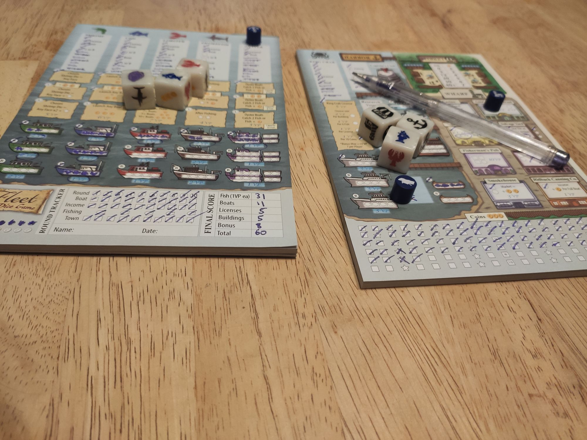 Fleet, the dice game. A very good roll & write